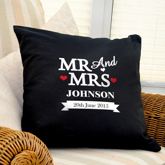 Mr & Mrs Black Cushion Cover
