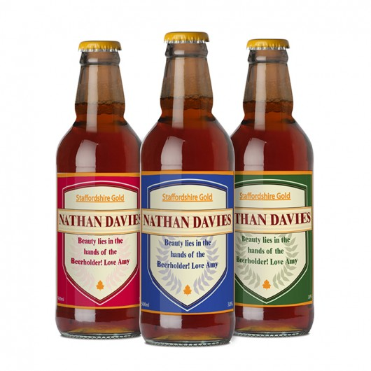 Set of 3 Personalised Shield Beers