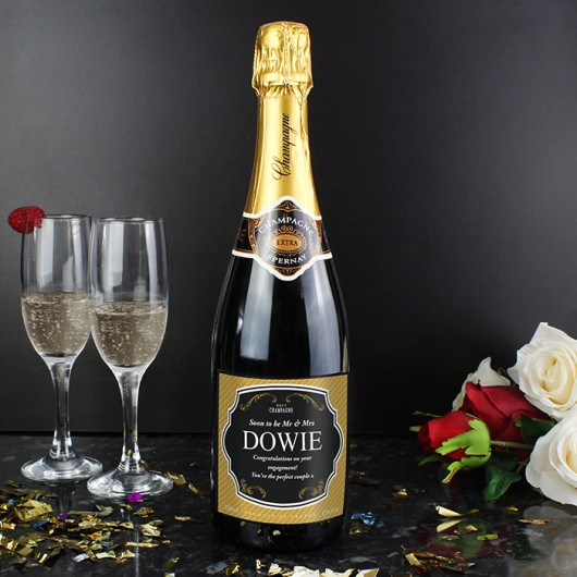 Personalised Gold & Black Champagne