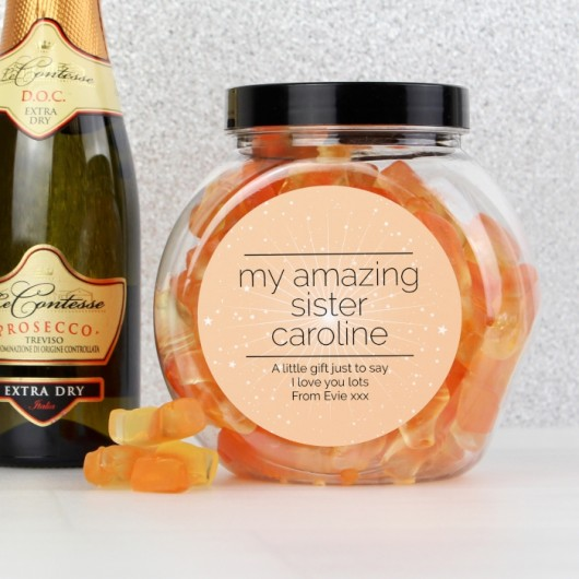 Personalised Sparkle Prosecco Gummies Jar