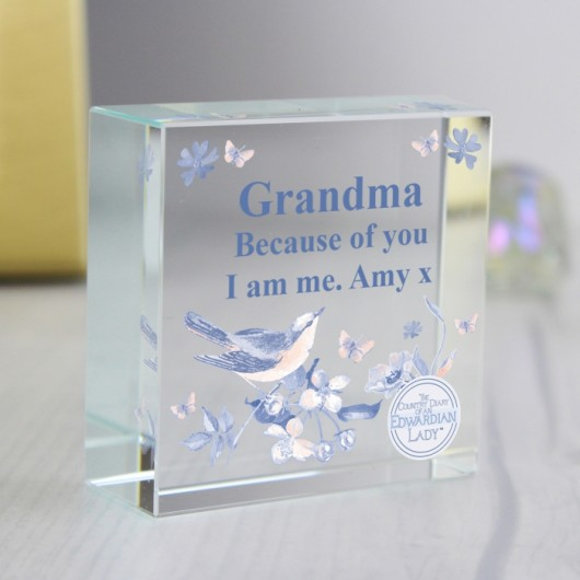 Personalised Blue Blossom Crystal Token