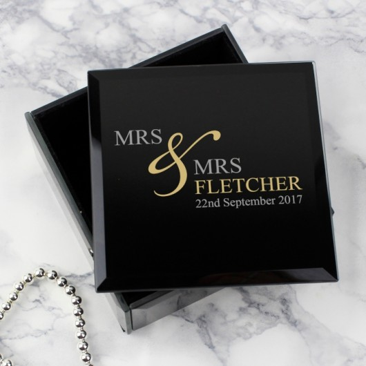 Couple's Personalised Black Glass Ring Box