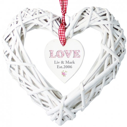 Wicker Love Heart Personalised Decoration