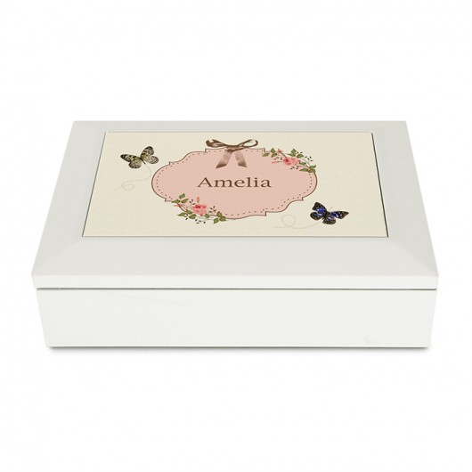 Butterfly White Personalised Jewellery Box