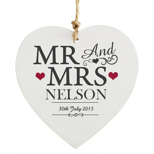 Mr & Mrs Wooden Personalised Heart Decoration