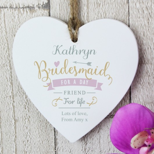 Personalised Bridesmaid Wooden Heart Decoration
