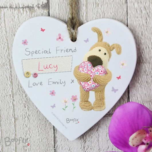 Personalised Wooden Heart Boofle Decoration