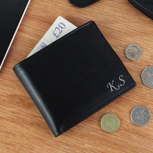 Personalised Script Font Black Leather Wallet