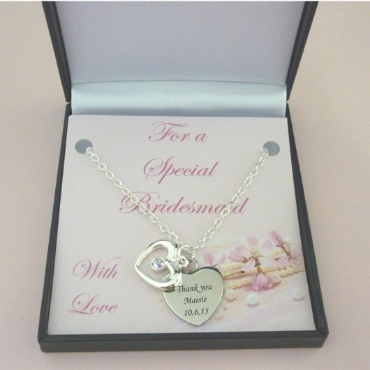 Joint Wedding Gifts For Parents : Engraved Charm Necklace Bridal Gift Box