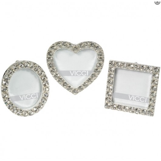3 Diamante Mini Photo Frames