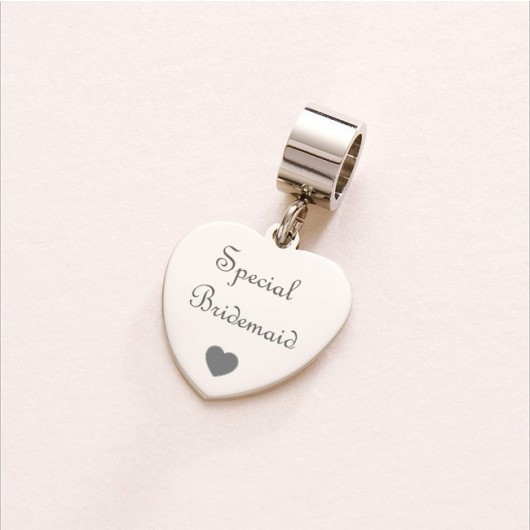 Engraved Sterling Silver Heart Charm - Fits Pandora.