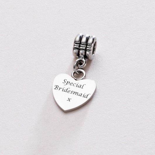 Engraved Heart Charm on Bail - Fits Pandora!