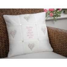 Embroidered Personalised Wedding Cushion