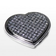 Personalised Heart Shaped Diamante Compact Mirror