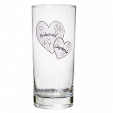 Personalised Butterfly Hearts Hi Ball Glass