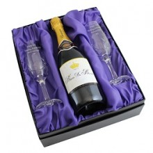 Bottle of Champagne & Two Personalised Crystal Champagne Flutes