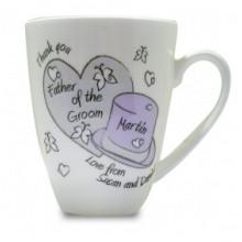 Personalised Hearts & Top Hat Wedding Mug