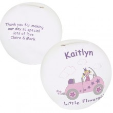 Personalised Little Flower Girl Money Box