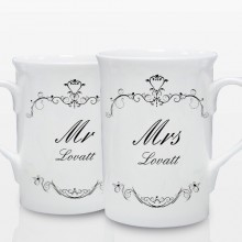 Personalised Ornate Swirl Couple's Mug Set