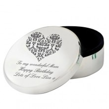 Personalised Damask Round Trinket
