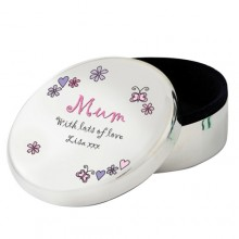 Personalised Floral Butterfly Round Trinket