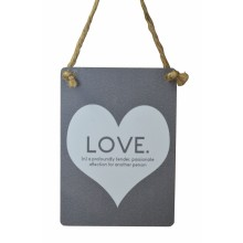 LOVE Mini Grey Metal Sign