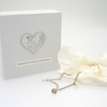 Bridesmaid Charm Bracelet with Sequin Heart Gift Box