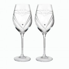 Pair of Personalised Swarovski Wine Glasses