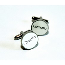 White Enamel Groom Cufflinks