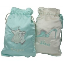 Ivory & Duck Egg Blue Lingerie or Shoe Satin Bag