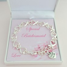 Silver Hearts Thank You Bracelet