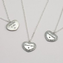Engraved Sparkly Heart Necklace