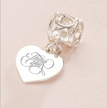 Sterling Silver Engraved Heart Charm