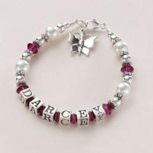 Sterling Silver & Pearl Name Bracelet