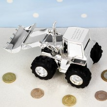 Personalised Silver Plated Digger Money Box