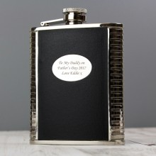 Black Leather & Steel Personalised Hip Flask