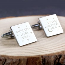 Moon and Back Personalised Cufflinks