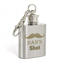 Personalised Moustache 1oz Hip Flask Keyring