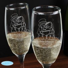 Me To You Personalised Engraved Wedding Pair of Flutes