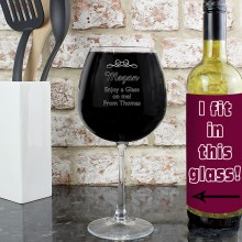 Personalised Decorative Bottle of Wine Glass