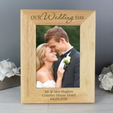 Personalised 'Our Wedding Day' Photo Frame (5 x 7)