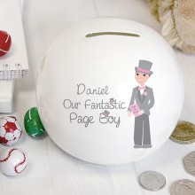 Personalised Fantastic Page Boy Money Box