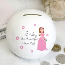 Beautiful Flower Girl Money Box - Personalised