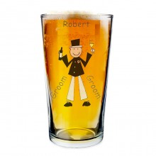 Personalised Cartoon Wedding Party Pilsner Glass