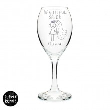 Purple Ronnie Bride Wine Glass