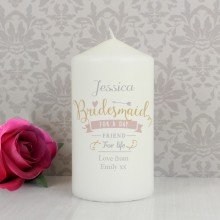 I Am Glad... Personalised Bridesmaid Candle