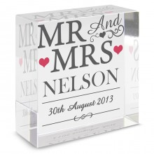 Mr & Mrs Glass Block