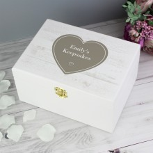 Rustic Heart Personalised Wooden Keepsake Box
