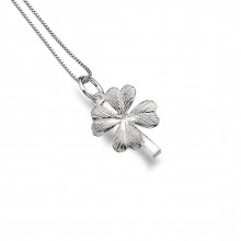 Solid Silver Lucky Four Leaf Clover Necklace