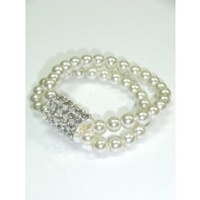 2 Row Pearl Ball And Crystal Bar Elasticated Bracelet